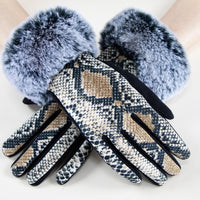Faux Fur Detail Gloves - Snake Print-Accessories-Moda Me Couture
