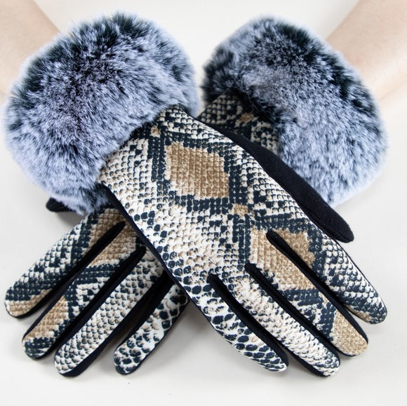 Faux Fur Detail Gloves - Snake Print