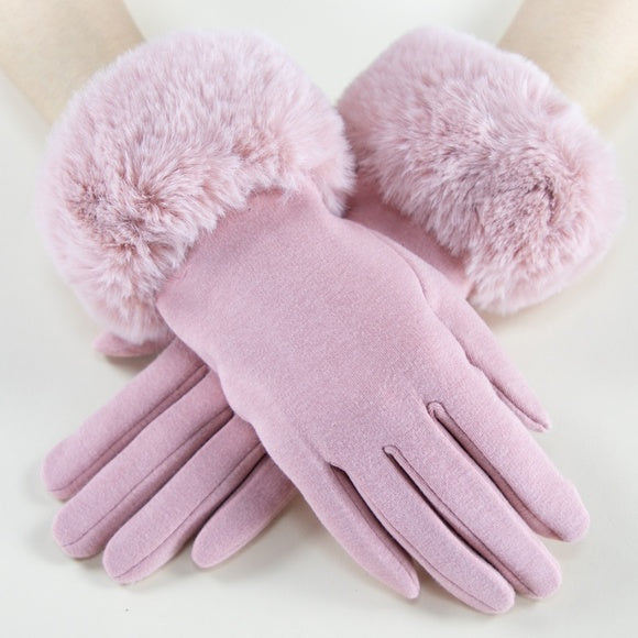 Faux Fur Detail Gloves - Blush