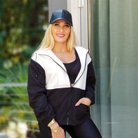 Abby Lightweight Jacket - White Black-Jackets & Coats-Moda Me Couture