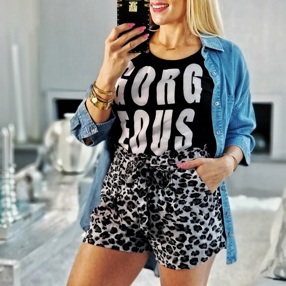 Gray Animal Print Shorts