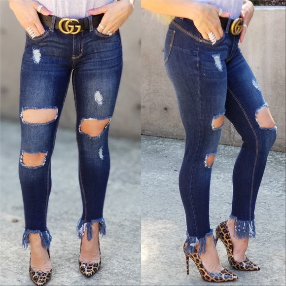 JESSICA Frayed Hem Jeans-Jeans-Moda Me Couture