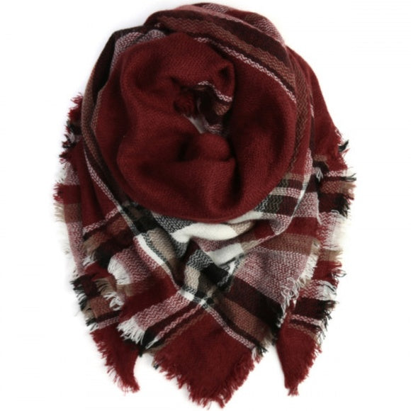 Oversized Blanket Scarf - Burgundy Black