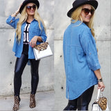 Relaxed Mode Denim Button Down Top-Tops-Moda Me Couture