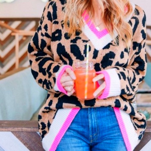 LANIE Animal Print Sweater-Sweater-Moda Me Couture
