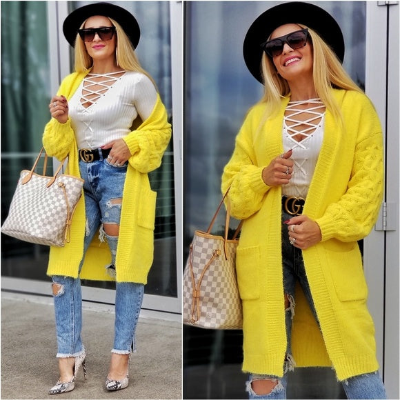 KANARY Soft Cardigan - Yellow-Sweater-Moda Me Couture