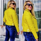 Lime Faux Leather Jacket-Jackets & Coats-Moda Me Couture