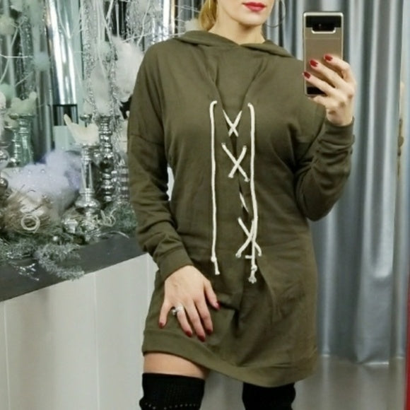 Lace-Up Tunic Sweatshirt Top-Tops-Moda Me Couture