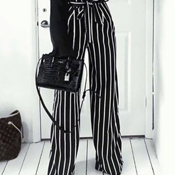 Black Pin striped Pants