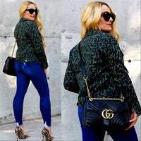 Zoey Animal Print Jacket - Green-Jackets & Coats-Moda Me Couture