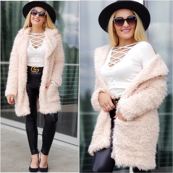 Angelica Faux Fur Coat Blush - Pink-Jackets & Coats-Moda Me Couture