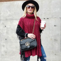 LENORA Sweater Poncho Burgundy-Sweater-Moda Me Couture