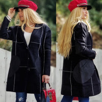 Grid Print Coat - Black-Jackets & Coats-Moda Me Couture