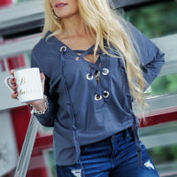 LANGLEY Lace up Grommet Casual Top - Blue-Tops-Moda Me Couture