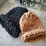 Tan or Black Chunky Knit Beanie-Accessories-Moda Me Couture