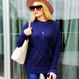 ARIEL Navy Braided Front Sweater-Sweater-Moda Me Couture ®