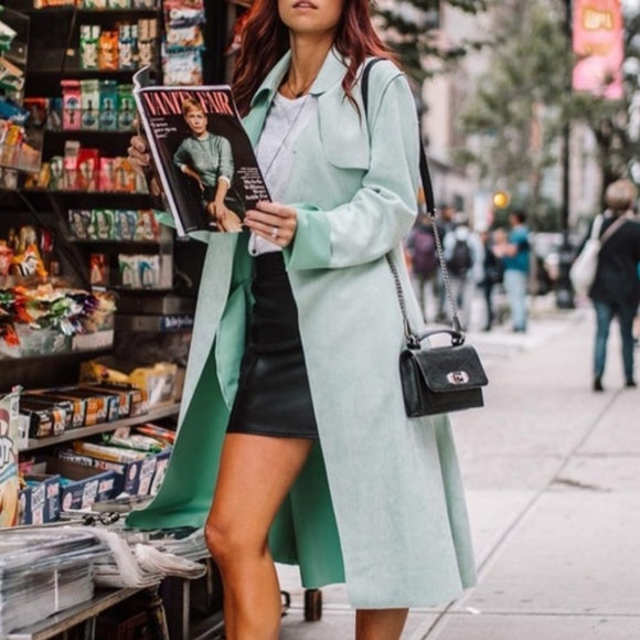Mint Faux Suede Trench Jacket-Jackets & Coats-Moda Me Couture