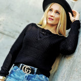 Reversible Waffle Sweater Top - Black-Tops-Moda Me Couture