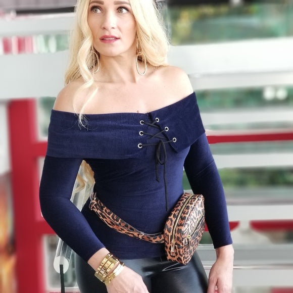 TALISA Soft Ribbed Off Shoulder Top - Blue-Tops-Moda Me Couture
