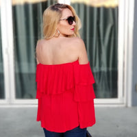 KIVI Red Off Shoulder Top-Tops-Moda Me Couture