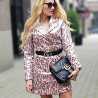 KENDRA Snake Print Blazer Dress Blush Pink