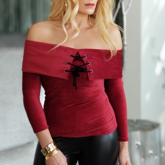 TALISA Soft Ribbed Off Shoulder Top - Burgundy-Tops-Moda Me Couture