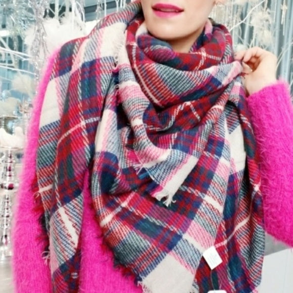 Oversized Plaid Blanket Scarf Pink Tan-Accessories-Moda Me Couture