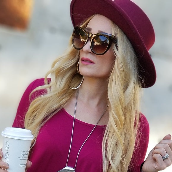 Fedora Hat Burgundy-Accessories-Moda Me Couture