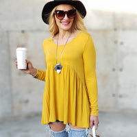 Casual Jersey Tunic Top Yellow-Tops-Moda Me Couture ®