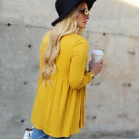 Casual Jersey Tunic Top Yellow-Tops-Moda Me Couture