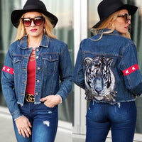 Sephora Tigeress Denim Jacket-Jackets & Coats-Moda Me Couture