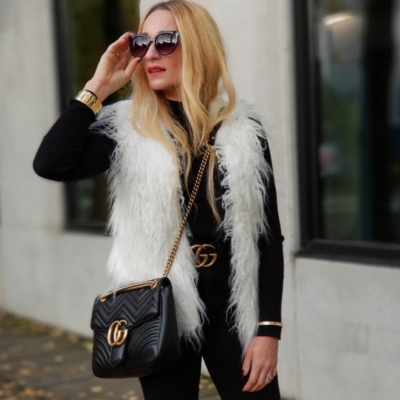 White Faux Fur Vest-Jackets & Coats-Moda Me Couture