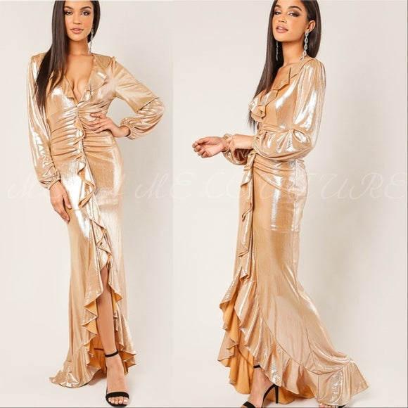Ophelia Gold Metallic Maxi Dress-Dress-Moda Me Couture