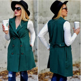 Get It Right Double Breasted Vest - Forest Green-Jackets & Coats-Moda Me Couture