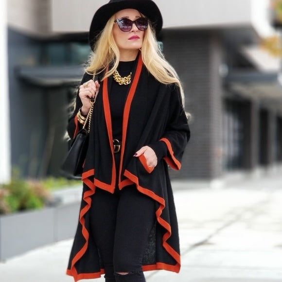 EMERY Black Cardigan with Red Trim-Sweater-Moda Me Couture