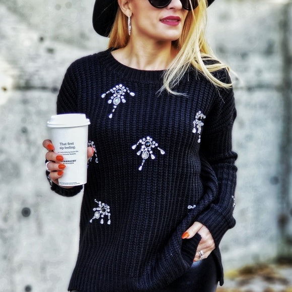Cable Knit Sweater Rhinestone Black-Sweater-Moda Me Couture