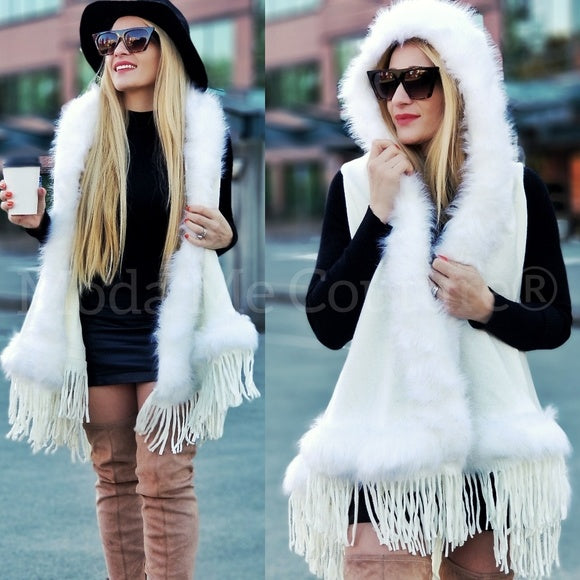 Faux Fur Trim Vest Cream