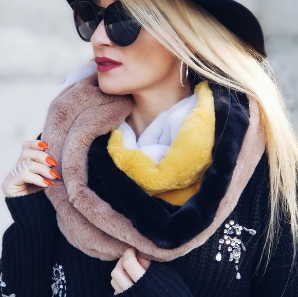 Faux Fur ColorBlock Infinity Scarf-Accessories-Moda Me Couture