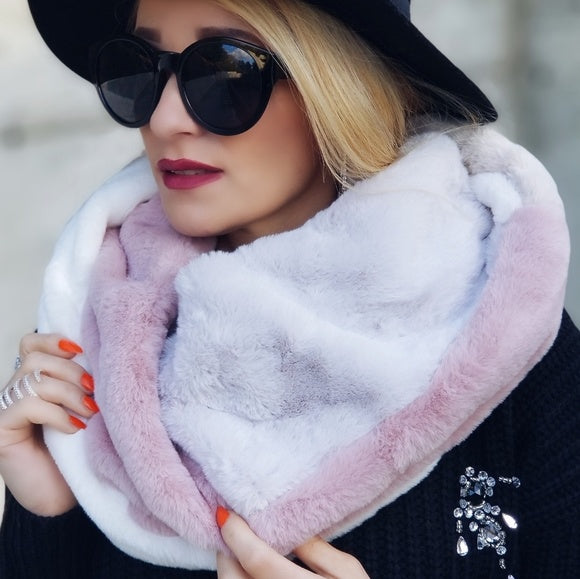 Color Block Faux Fur Infinity Scarf Pink-Accessories-Moda Me Couture