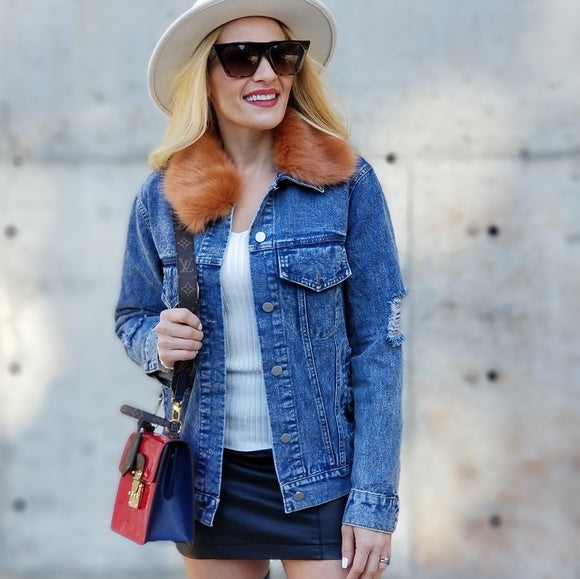Denim Jacket with Faux Fur-Jackets & Coats-Moda Me Couture