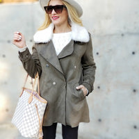 Olive Suede Mini Trench Coat-Jackets & Coats-Moda Me Couture ®