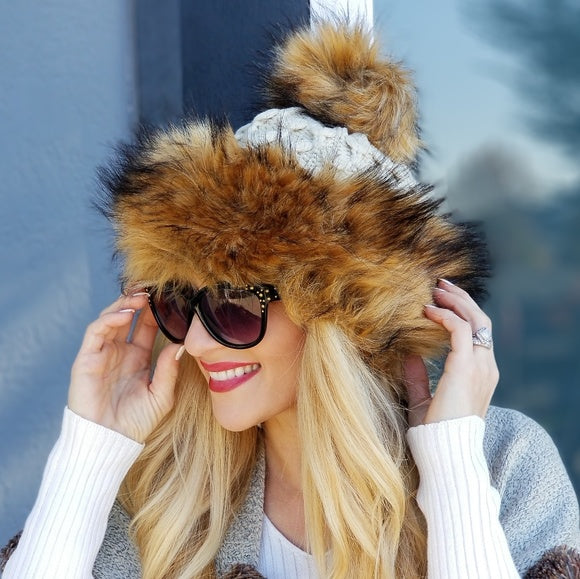 Faux Fur Trim Beanie Hat - Beige-Accessories-Moda Me Couture