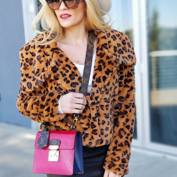 Leopard Faux Fur Coat-Jackets & Coats-Moda Me Couture