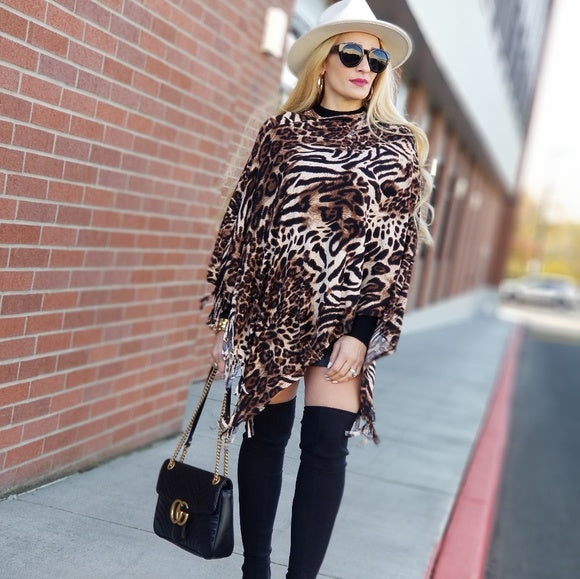 Fierce Doll Animal Print Poncho Top-Sweater-Moda Me Couture