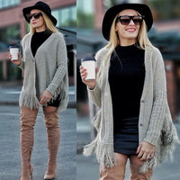 Fringe Button Down Cardigan-Sweater-Moda Me Couture