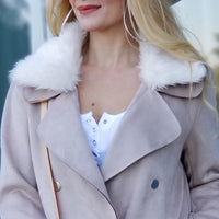 Blush Suede Mini Trench Coat-Jackets & Coats-Moda Me Couture
