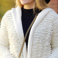 Loop Fringe Hoodied Cardigan-Sweater-Moda Me Couture