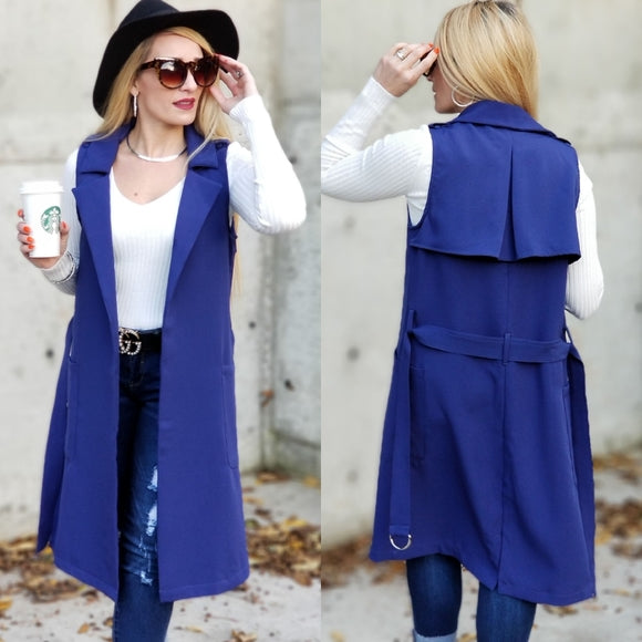 Take Me Seriously Open Front Vest - Blue-Jackets & Coats-Moda Me Couture