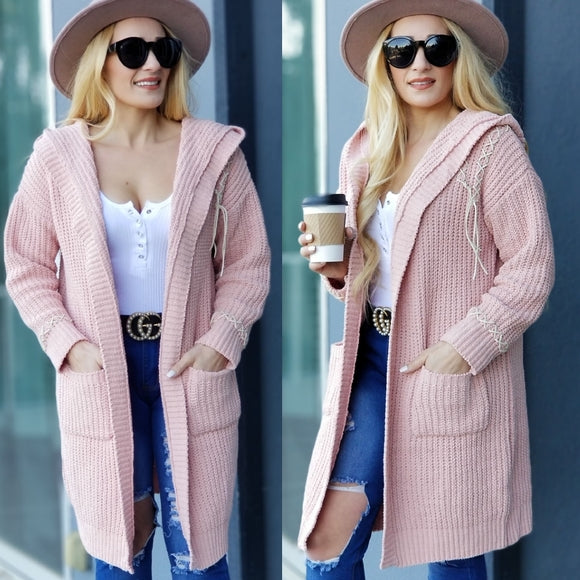 ABIGAIL Blush Pink Cardigan Long Sleeve-Sweater-Moda Me Couture