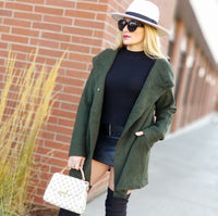 Olive Green Hooded Cardigan-Sweater-Moda Me Couture ®